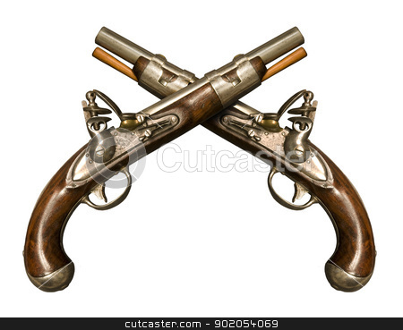 Two Crossed Flintlock Pistols stock photo, Two Crossed Flintlock Pistols against white background. Flintlock pistols manufactured by gunmaker Simeon North circa 1813, although it is similar to what was used during the American Revolution. It was one of the few flintlocks made in the United States in that era. It was also notable in that it had interchangeable parts. by J.R. Bale