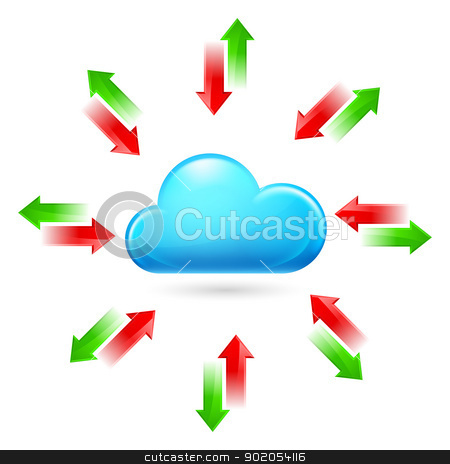 Cloud computing stock photo, Cloud with Arrows. Illustration on white background by dvarg