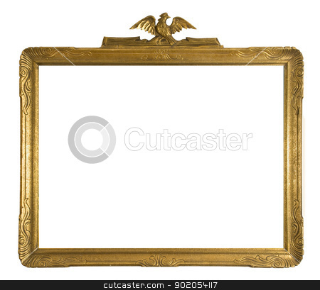 Antique gold picture frame  stock photo, Antique gold ornate picture frame isolated on a white background  by J.R. Bale