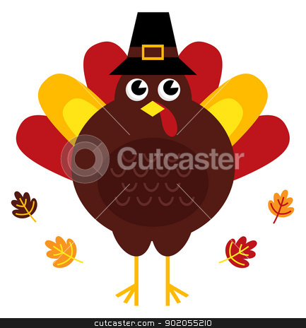 Cute retro thanksgiving turkey with hat isolated on white stock vector clipart, Stylized brown turkey with leaves behind. Vector illustration by BEEANDGLOW
