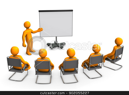 Lecture Flipchart stock photo, Orange cartoon characters sit in on a lecture. by Alexander Limbach