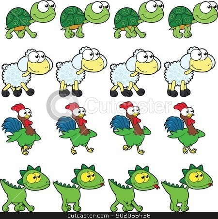 Animal Walking animations. stock vector clipart, Animal Walking animations.Vector cartoon and isolated characters. You can use four frames in loop, each animal. by ddraw