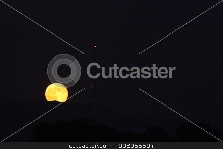 Full Moon Rise stock photo, Full moon rising at the Goleta beach. by Henrik Lehnerer