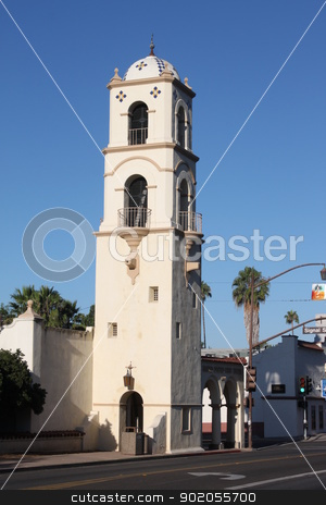 Post Office Tower Ojai stock photo, Downtown Ojai with the post office tower. by Henrik Lehnerer