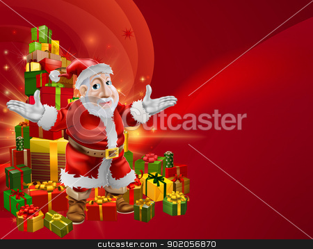 Red cartoon Santa Background stock vector clipart, A red abstract Christmas background with chubby cheerful cartoon Santa and Christmas gifts. by Christos Georghiou