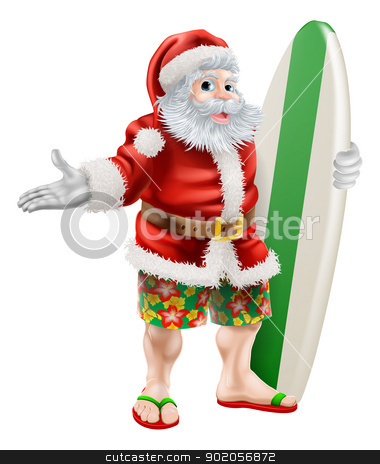 Surf Santa stock vector clipart, An illustration of  a cartoon Santa in beach board shorts holding a surfboard  by Christos Georghiou