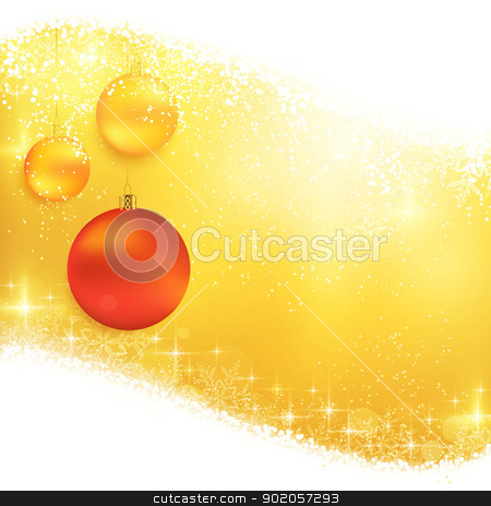 Golden sparkling Christmas background with hanging baubles stock vector clipart, Hanging Christmas ornaments on a shiny golden background with light effects, magical stars and glittering snowflakes. Great for the festive season of Christmas to come. by Ina Wendrock