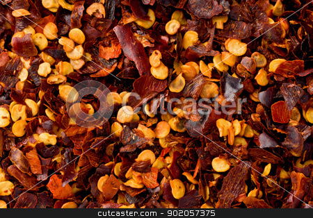 Hot Pepper Flakes stock photo, Background texture of hot pepper flakes. by Glenn Price