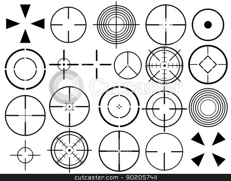 Crosshair set stock vector clipart, Set of different crosshair illustration on white background by Iliuta