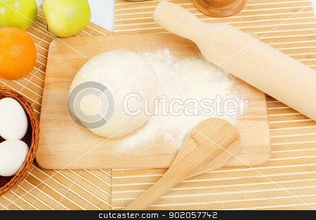 Different products to make bread stock photo, Different products to make bread on the table by Sergey Nivens