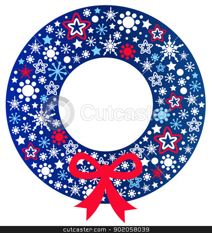 Blue Christmas wreath with ribbon isolated on white stock vector clipart, Beautiful christmas wreath. Vector Illustration by BEEANDGLOW