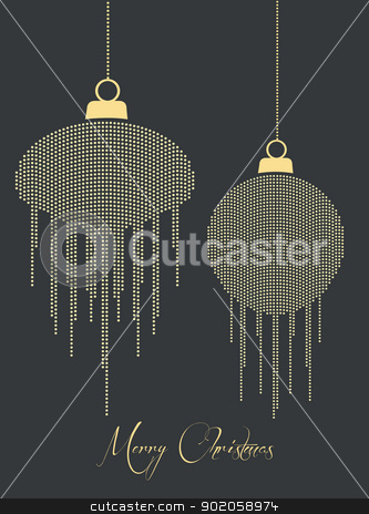 Christmas balls stock vector clipart, Christmas balls made with dots on a dark background by Miroslava Hlavacova