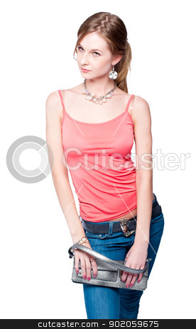 Beautiful woman with bag stock photo, Portrait of fashionable young woman with hand bag by Aikon
