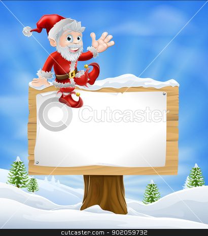 Cartoon Santa Christmas Sign stock vector clipart, Illustration of happy cartoon Santa Claus sitting on a Christmas sign in winter landscape and waving  by Christos Georghiou