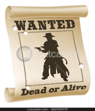 Wanted poster illustration stock vector clipart, An illustration of a wanted poster with text wanted dead or alive, cowboy silhouette and bullet holes  by Christos Georghiou