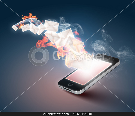 Modern communication technology stock photo, Modern communication technology illustration with messages and devices by Sergey Nivens