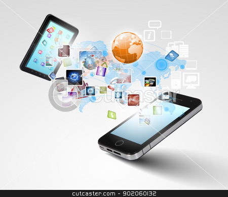 Modern communication technology stock photo, Modern communication technology illustration with mobile phone and high tech background by Sergey Nivens