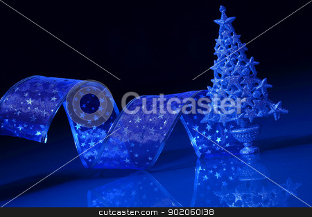 christmas tree stock photo, Beautiful Decorated Christmas tree on a darl background by Sergey Nivens