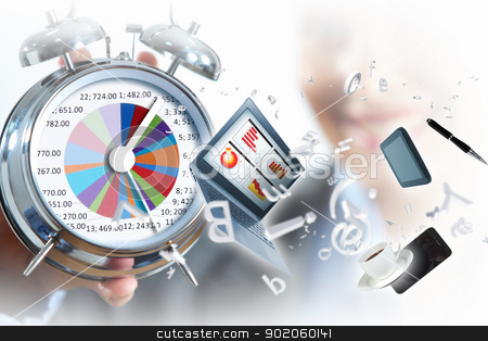 Time in business stock photo, Time in business illustration with clock in hands of businesswoman by Sergey Nivens