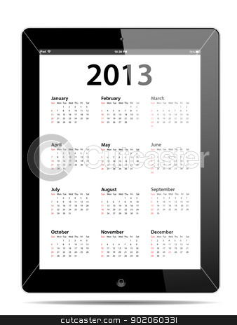 Calendar for 2013 in tablet PC stock vector clipart, Calendar for 2013 in tablet PC isolated on white background by manaemedia