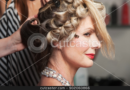 Calm Lady in Salon stock photo, Calm mature Caucasian woman in beauty salon by Scott Griessel
