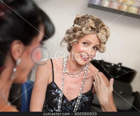 Ladies Talking in Salon stock photo, Two pretty women talking in hair salon by Scott Griessel