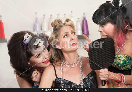 Ladies in Hair Salon Argue stock photo, Emotional women talking about hair styles in beauty salon by Scott Griessel
