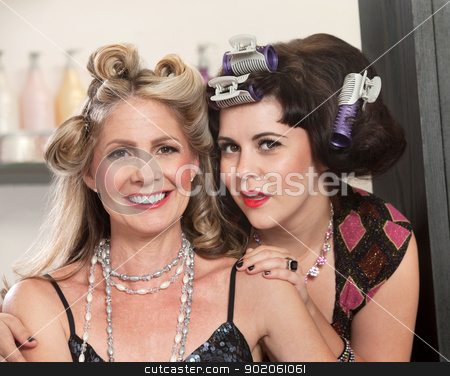 Friends Showing Off Their Hairdo stock photo, Cute Caucasian adult friends in beauty salon by Scott Griessel