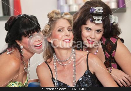 Smiling Ladies in Hair Salon stock photo, Three cute Caucasian women posing in a beauty salon by Scott Griessel