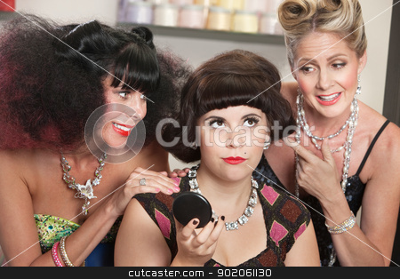 Ladies Watch Annoyed Female in Salon stock photo, Annoyed pretty woman with older ladies in beauty salon by Scott Griessel