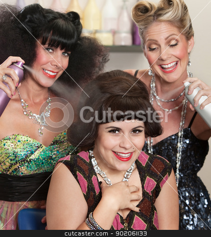 Ladies Play with Hair Spray stock photo, Three happy women playing with hair spray in beauty salon by Scott Griessel