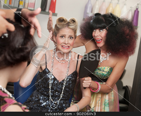 Friend Comforts Lady with Had Hair stock photo, Hopeless woman with hair problem and sympathetic friend by Scott Griessel