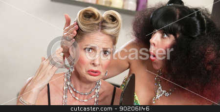 Lady Weeping About Hairdo stock photo, Weeping European female with bad hairdo and friend by Scott Griessel
