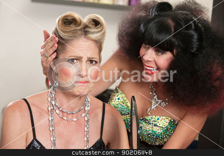 Female Angry About Hairdo stock photo, Angry white female with problem hairdo and comforting friend by Scott Griessel