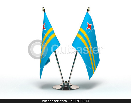 Miniature Flag of Aruba (Isolated) stock photo, Miniature Flag of Aruba (Isolated with clipping path) by bosphorus