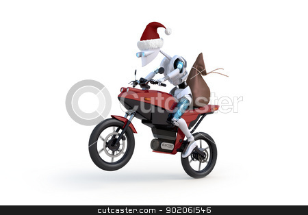 Robot with Santa Hat Riding Motorcycle stock photo, Robot wearing a santa hat and riding a red motorcyle with a large bag on the back against a white background. by Glenn Price