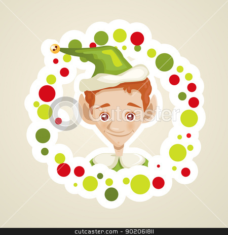 Cute elf christmas card stock photo, Cute elf christmas card, vector illustration by kariiika