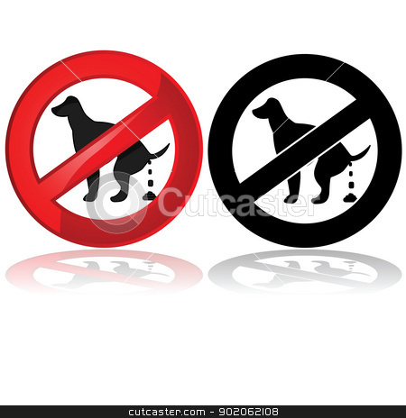 No dog poop allowed stock vector clipart, Forbidden sign showing a dog pooping  by Bruno Marsiaj