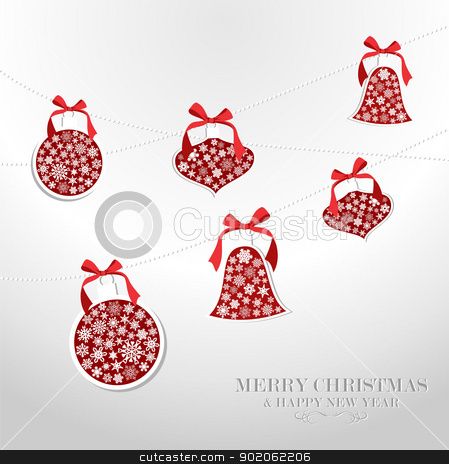 Merry Christmas snowflakes baubles stock vector clipart, Merry Christmas and Happy new year snowflakes baubles greeting card. Vector illustration layered for easy manipulation and custom coloring. by Cienpies Design
