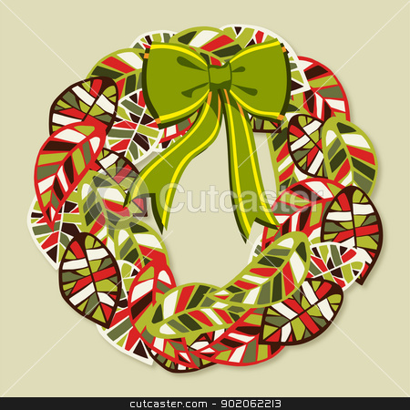 Diversity leaves Christmas wreath stock vector clipart, Diversity leaves Christmas season wreath. EPS10 file with a drop shadow in multiply mode at 75% level. This shadow is in the corresponding element and included as style. by Cienpies Design