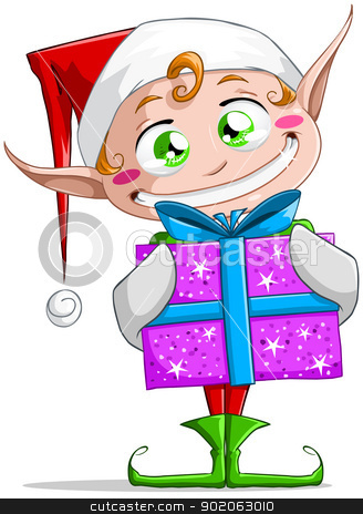 Christmas Elf Holding A Present stock vector clipart, A vector illustration of a Christmas elf holding a present and smiling. by Liron Peer