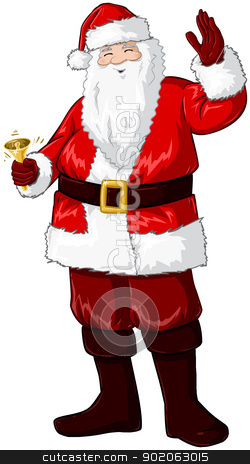 Santa Claus Holding Bell And Waving For Christmas stock vector clipart, A vector illustration of Santa Claus smiling and ringing a bell and waving his hand for Christmas. by Liron Peer