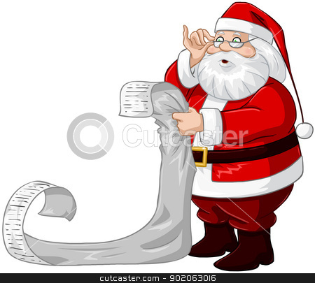 Santa Claus Reads From Christmas List stock vector clipart, A vector illustration of Santa Claus holding and reading from his Christmas list of good and bad children. by Liron Peer