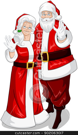 Santa And Mrs Claus Waving Hands For Christmas stock vector clipart, A vector illustration of Santa and Mrs Claus standing hugged and waving their hands for Christmas. by Liron Peer