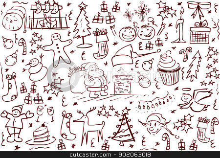 Christmas Symbols Doodles stock vector clipart, A pack of vector illustrations of Christmas related doodles. by Liron Peer