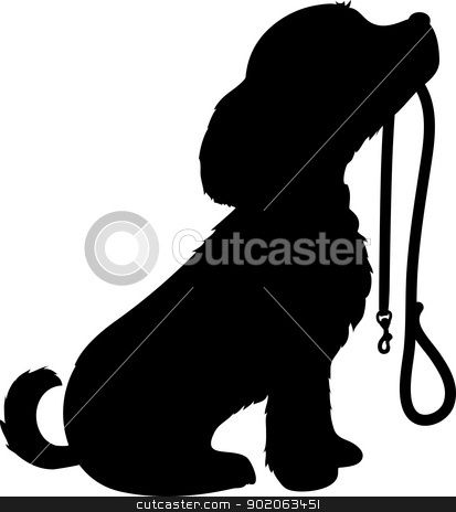 Dog and Leash stock vector clipart, A black silhouette of a sitting dog holding it's leash in it's mouth, patiently waiting to go for a walk. by Maria Bell