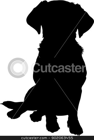 mixed breed puppy silhouette stock vector clipart, A black silhouette image of a puppy sitting facing the viewer. by Maria Bell