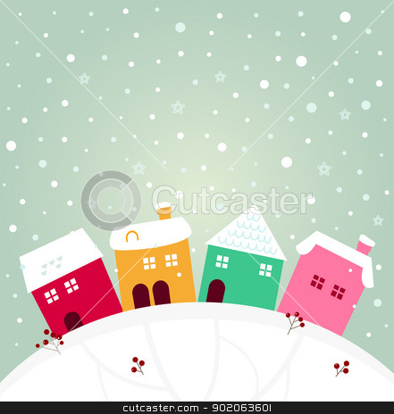 Colorful winter village on the top of hill stock vector clipart, Cute christmas colorful houses. Vector cartoon by BEEANDGLOW