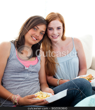 Young girls eating burgers and fries stock photo, Young girls eating burgers and fries on the sofa by Wavebreak Media