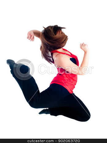 Young dancing girl stock photo, Funky young beautiful woman dancing hip-hop in white studio by Aikon